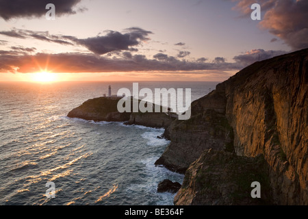 South Stack Lighthouse on the Isle of Anglesey, Wales, UK - Stock Photo