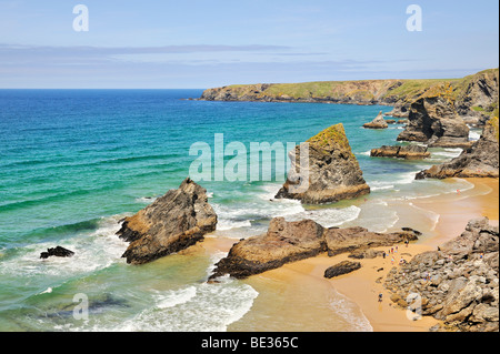 Cliff formation Bedruthan Steps in Newquay on the north coast of Cornwall, England, United Kingdom, Europe - Stock Photo