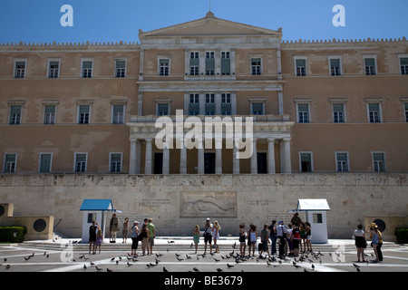 Evzones Vouli Parliament Building Syntagma Square Athens Greece - Stock Photo