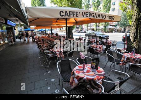 Leopoldstrasse street, sidewalk, empty tables, Schwabing, Munich, Bavaria, Germany, Europe - Stock Photo