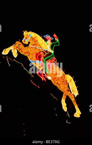 Neon cowboy on horse, Las Vegas
