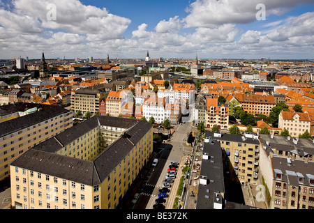 View of Copenhagen from the top of Our Saviours Church, Copenhagen, Denmark, Europe - Stock Photo