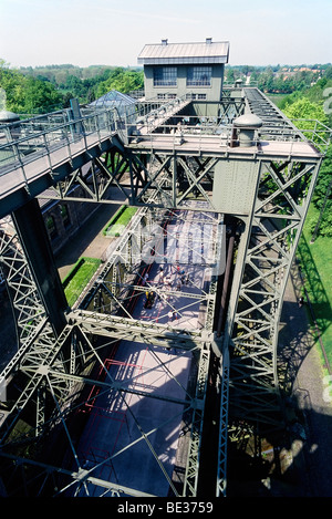 Historic boat lifts Henrichenburg, steel construction, LWL Industrial Museum, Waltrop-Oberwiese, Ruhr area, North - Stock Photo