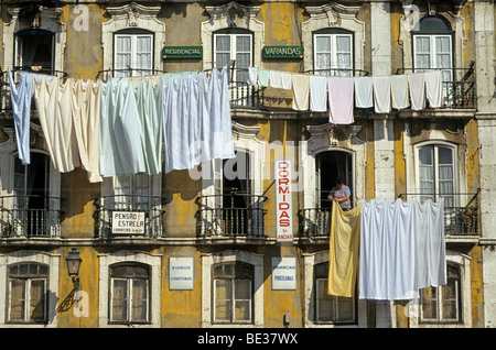 Rooming houses, Alfama district, Lisbon, Portugal, Europe - Stock Photo