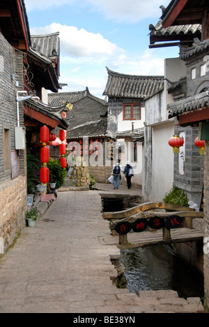 Lane, red lanterns, old town of Lijiang, UNESCO World Heritage Site, Yunnan Province, People's Republic of China, - Stock Photo
