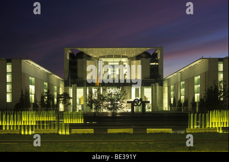 Federal Chancellery building at night, Berlin, Germany, Europe - Stock Photo