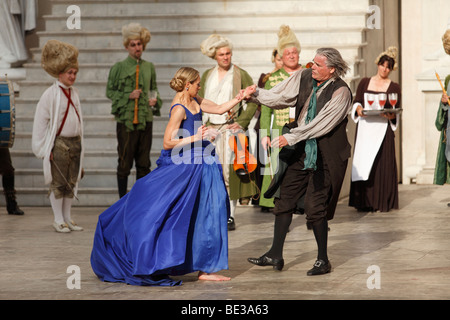 Jedermann, Everyman, 2009, played by Peter Simonischek with Sophie von Kessel as Buhlschaft, Paramour, play by Hugo - Stock Photo