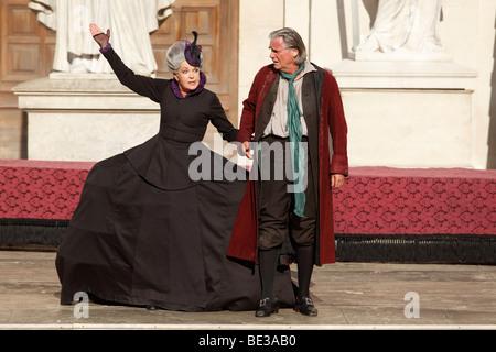Jedermann, Everyman, played by Peter Simonischek, with Elisabeth Trissenaar as Jedermann's mother, play by Hugo - Stock Photo