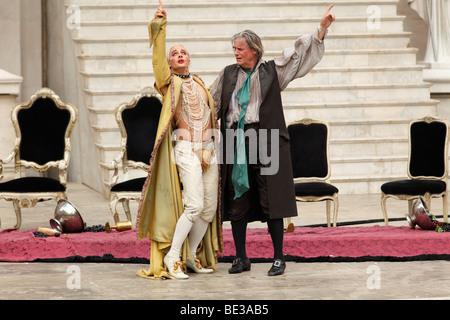 Jedermann, Everyman, 2009, played by Peter Simonischek with Gabriel Raab as Mammon, play by Hugo von Hofmannsthal, - Stock Photo