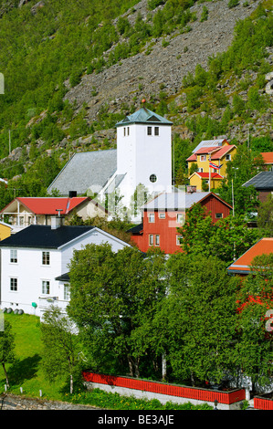 Oksfjord town, Norway, Scandinavia, Europe - Stock Photo