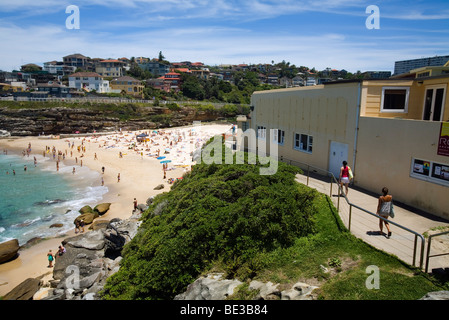 View over the Tamarama Surf Club and beach on the Bondi to Coofee clifftop trail. Sydney, New South Wales, AUSTRALIA - Stock Photo