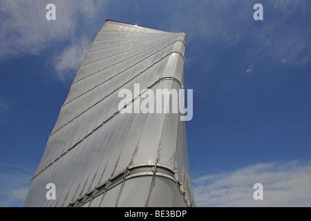 Info tower of the construction site of the new major BBI airport, Berlin Brandenburg International, main terminal, - Stock Photo