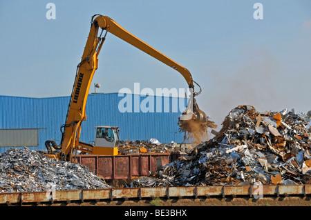 Bulk-handling crane on a scrap yard, scrap island, DuisPort inland port, Duisburg, North Rhine-Westphalia, Germany, - Stock Photo