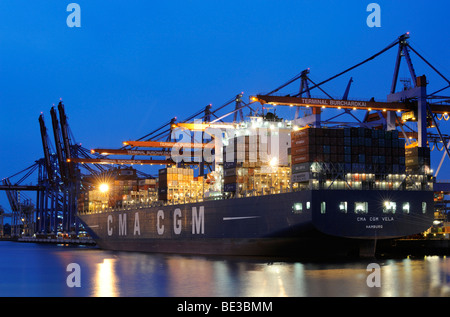 Container ship being loaded at the Burchardkai Terminal, Hamburg, Germany, Europe - Stock Photo