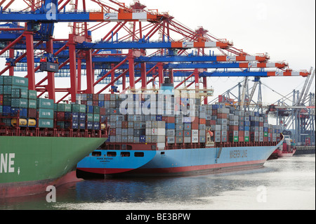 Container ship being loaded at the Eurogate, Hamburg, Germany, Europe - Stock Photo