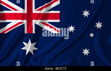 Rippled Australian flag - Stock Photo