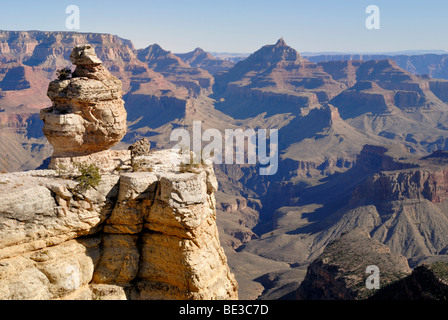 View from the South Rim in the direction of Vishnu Temple and North Rim, Grand Canyon National Park, Arizona, USA - Stock Photo