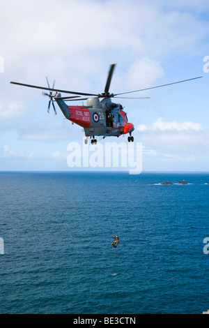Royal Navy Rescue helicopter, Land's End, Penn an Wlas, Cornwall, England, United Kingdom, Europe - Stock Photo
