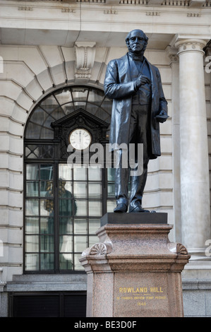 Statue of Sir Rowland Hill in King Edward Street, London, England, UK. - Stock Photo