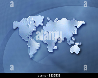Digitally generated image of the world in pixels. - Stock Photo