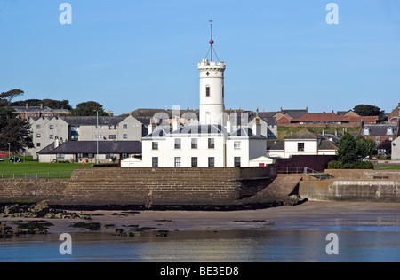 The Signal Tower Museum in Arbroath Harbour Scotland as seen from the sea side - Stock Photo
