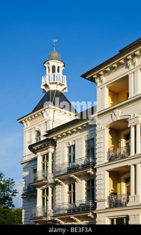 Seeschloss villa, spa-style architecture, in the Heringsdorf seaside resort, Usedom Island, Mecklenburg-Western - Stock Photo