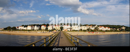 View from the pier of the Bansin seaside resort, panoramic view put together from 3 separate pictures, Usedom Island, - Stock Photo