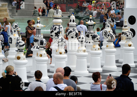 Giant chess pieces in Trafalgar Square, London, England. - Stock Photo