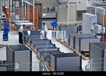 Storage, production of solar modules at SOLON SE, Berlin-Adlershof, Germany, Europe - Stock Photo