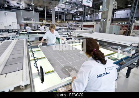 Production of solar modules at SOLON SE, Berlin-Adlershof, Germany, Europe