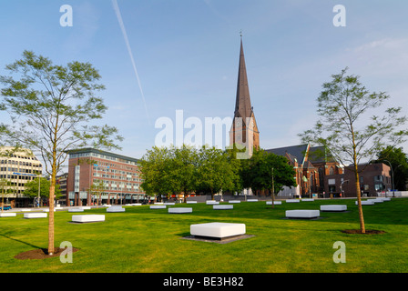 Domplatz square and St. Petrikirche, St. Peter church, in the historic centre of Hamburg, Germany, Europe - Stock Photo