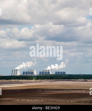Lignite strip mining Cottbus Nord and Jaenschwalde coal-fired power plant, Lausitz, Brandenburg, Germany, Europe - Stock Photo