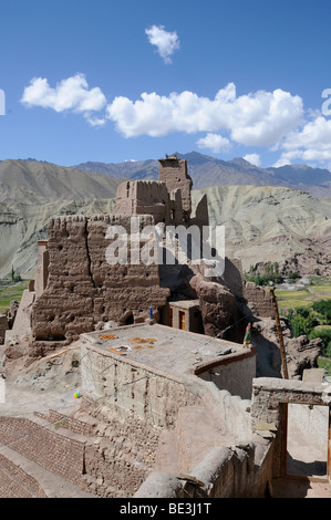 Castle ruins and monastery in the Indus Valley, Basgo, Ladakh, India, Himalayas, Asia - Stock Photo