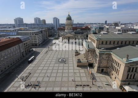 View from the French Cathedral on the Gendarmenmarkt square in Berlin, Germany, Europe - Stock Photo
