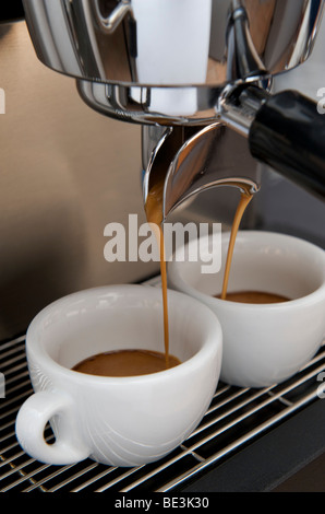 Professional preparation of espresso with an espresso machine: the espresso is flowing out of the filter into the - Stock Photo