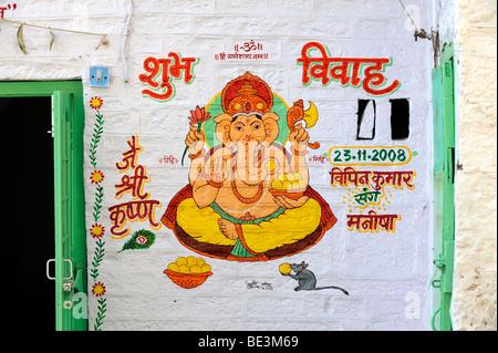 Mural painting of the elephant god Ganesha, Ganesh, Jaisalmer, Rajasthan, North India, India, South Asia, Asia - Stock Photo