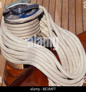 coiled ropes on yacht - Stock Photo