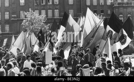 Demonstration at 1 Mai, Leipzig, GDR, historical picture, ca. 1985 - Stock Photo