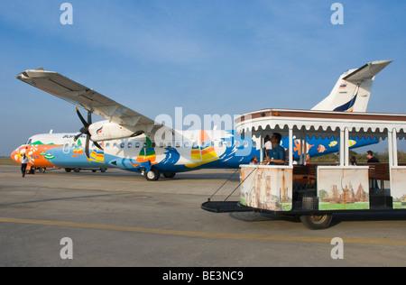 Propeller plane, airport, Sukhothai, Thailand, Asia