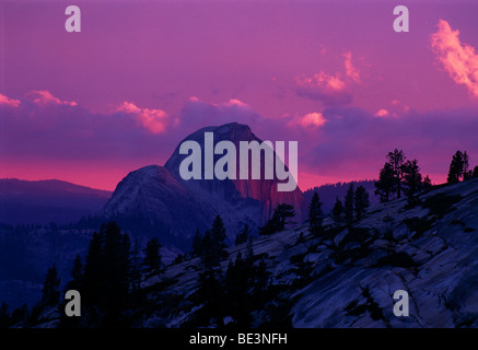 Halfdome mountain in the sunset, Yosemite National Park, California, USA, North America - Stock Photo