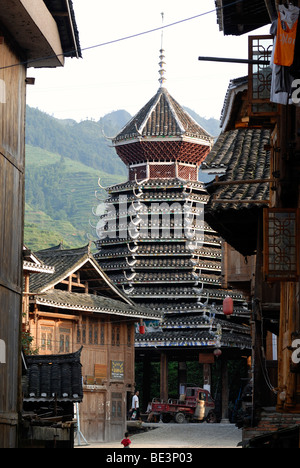 Drum Tower of the Dong minority village Zhaoxing in Guizhou, China, Asia - Stock Photo