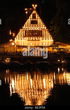 Tavern on the lake, Bregenz marina, Lake Constance, Vorarlberg, Austria, Europe - Stock Photo