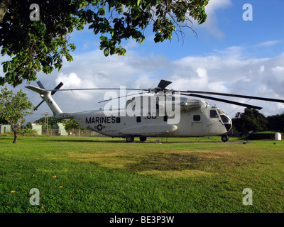 CH-53 Sea Stallion heavy lift transport helicopter on display .
