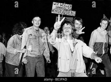 Monday Demonstration, Leipzig, GDR, historic picture, autumn 1989 - Stock Photo