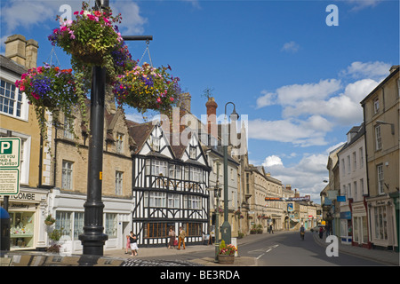 Cirencester, town centre, Market Place, Cotswolds, England, - Stock Photo