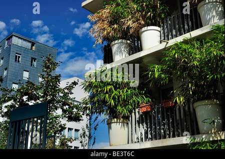 Paris, France, Real Estate, housing 'Tower Flower' Apartment Building Tower, Architectural Detail, Ecological Design, - Stock Photo
