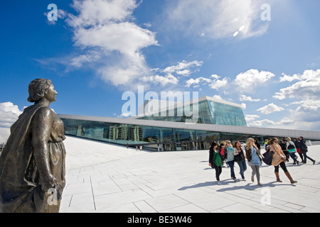 Front view of the Oslo Opera House (in Norwegian, Operahuset). - Stock Photo