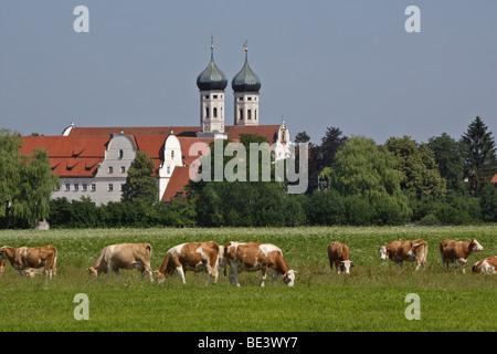 Germany, Upper Bavaria, view of Benedictbeuern Abbey at Benediktbeuern - Stock Photo