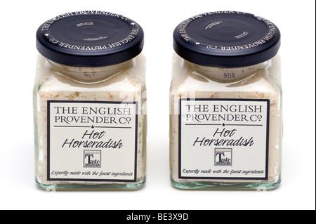 Two screw top jars of The' English Provender 'hot Horseradish sauce - Stock Photo