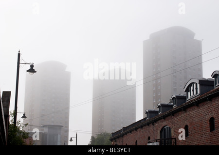 City apartments on misty day. - Stock Photo